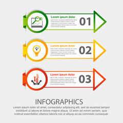 Modern 3D vector illustration. Circular step lable infographic template with three elements and arrows. Contains icons and text. Designed for business, presentations, workflow layout, 3-step diagrams