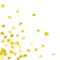 Shamrock background for Saint Patricks Day. Lucky trefoil confetti. Glitter frame of clover leaves. Template for special business offer, banner, flyer. Greeting shamrock background.