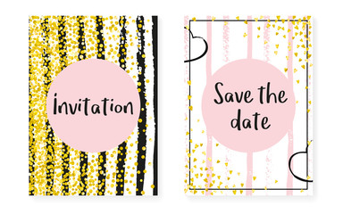 Gold glitter confetti with dots and sequins. Wedding and bridal shower invitation cards set. Vertical stripes background. Elegant gold glitter confetti for party, event, save the date flyer.