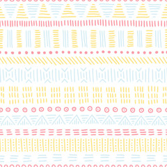Seamless ethnic pattern. Striped geometric print. Handwork in the style of doodle. Aztec and tribal motifs. Vector illustration.
