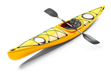 Yellow sea kayak and oars 3D