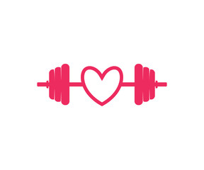 i love weight lifting with barbel fitness vector logo icon design