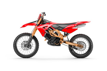 Red racing motorcycle for motocross by side view