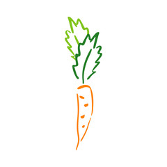 Color carrot vegetable leaf garden abstract vector plain picture. Simplified retro illustration. Wrapping or scrapbook paper background. Childish doodle. Element for design, wallpaper, fabric printing