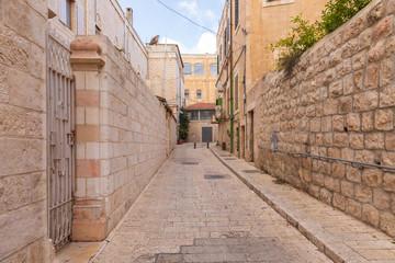 Empty street in Christian quarter of Jerusalem