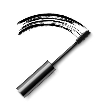 Vector realistic black mascara with smear trace isolated on white background