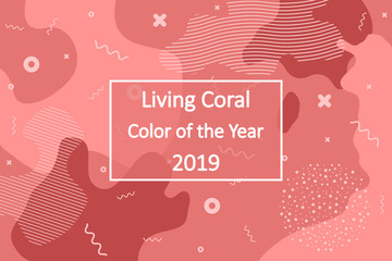 Living Coral - color of the year 2019. Abstract background for banners, posters in the color of living coral. Vector illustration.
