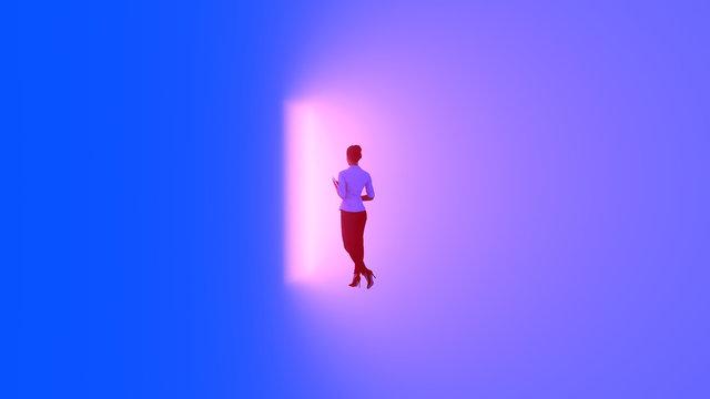 woman in front of the door emitting light