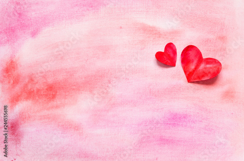 Watercolor hearts and background.  Love concept for mother's day and valentine's day.  Top view. Copy space