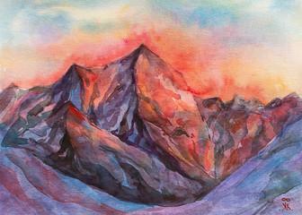 Tramonto in montagna dipinto acquerello