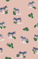 Seamless pattern with wild animal zebra print, silhouette on pink background.Seamless tropical monstera, palm, banana, bamboo leaves and flowers pattern, jungle print design.