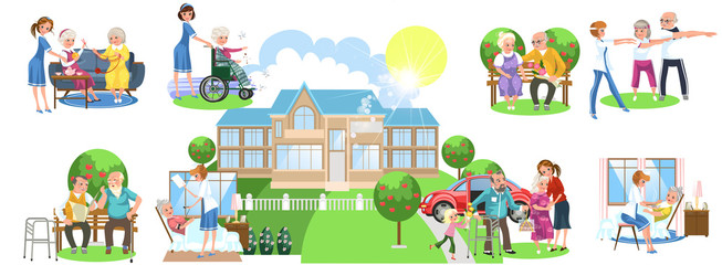 Cartoon set of different activities in nursing home