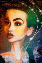 surreal portrait of young girl Makeup, body art. Composition of women portraits fantasy concept
