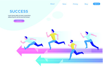 Business team  running to success. Concept business vector illustration
