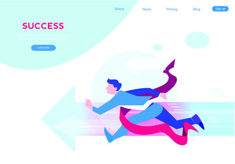 Businessman  running to success. Concept business vector illustration