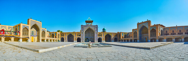 Panorama with three portals of Seyed Mosque, Isfahan, Iran