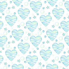pattern of blue watercolor hearts