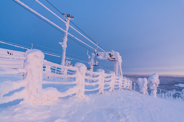View of the ski resort Ruka Finnish Lapland, cold winter day.