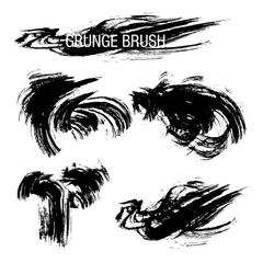 Vector set of grunge brush strokes