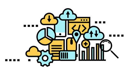 Flat line icon art style concept, Cloud computing, data storage, web services. vector illustration