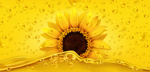 Golden drops. Sunflower oil. 3d realistic vector