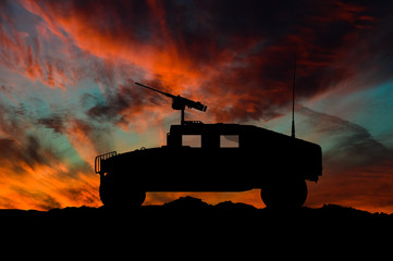American high mobility multipurpose wheeled vehicle silhouette / 3d illustration