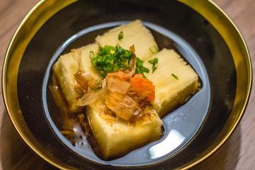 Agedashi Tofu Deep fried beancurd with soya bonito sauce
