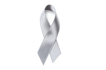 Grey ribbon on white background. Brain cancer concept