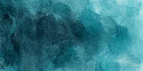 Abstract watercolor paint background by teal color blue and green with liquid fluid texture for...