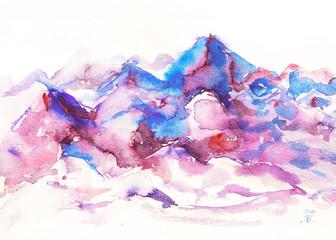 dipinto acquerello montagna rosa bella