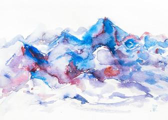 dipinto acquerello montagna cime innevate