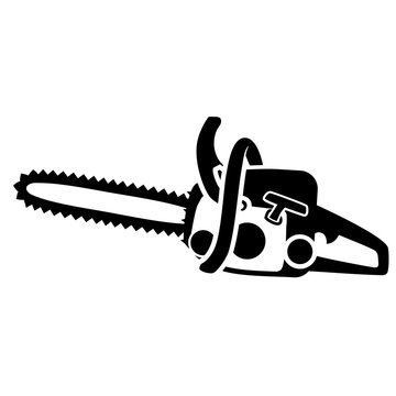 Black isolated detailed chainsaw silhouette. Vector flat simple chainsaw clipart - design element for logo or icon