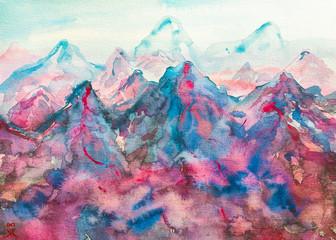 dipinto montagna acquerello