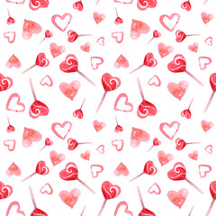 seamless texture. St. Valentine's Day. candy lollipops. a heart. love. watercolor