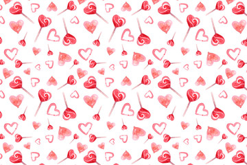 St. Valentine's Day candy lollipops a heart love watercolor