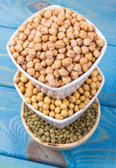 Vegetable protein, legume seeds. Conception of healthy eating.