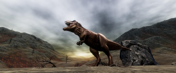 Extremely detailed and realistic high resolution 3d illustration of a T-Rex during the Dinosaur Extinction Wall mural
