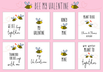 Valentine's day cards with cute bee, vector set
