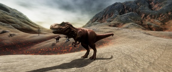 Extremely detailed and realistic high resolution 3d illustration of a T-Rex during the Dinosaur Extinction