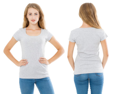 Close up of gray t shirt set. Woman in blank template tshirt with copy space isolated on white background. Front and rear view. Mock up