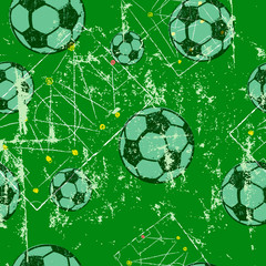 Soccer or football, seamless pattern background, tactics diagram, soccer balls, grunge style