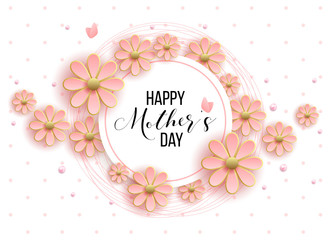 Happy mother's day layout design with roses, lettering, ribbon, frame, dotted background. Vector illustration.  Best mom / mum ever cute feminine design for menu, flyer, card, invitation.