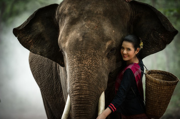 The woman and elephant portrait concept she enjoying in Thailand