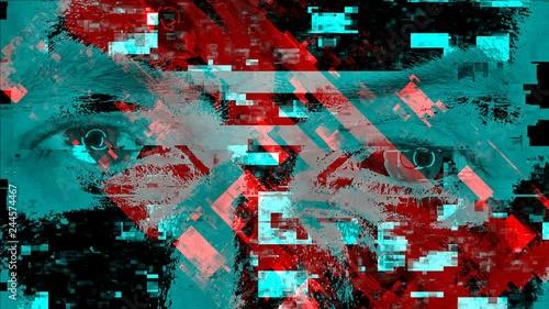 Mad man's eyes peeking at camera, modern technology glitch effect