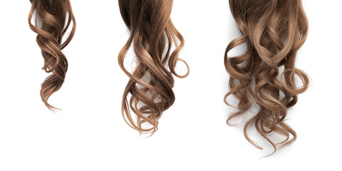 Brown long wavy hair on a white background. Growth process step by step