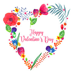 Floral heart watercolor hand drawn illustration. Decorative sketch plants and flowers in heart shape frame with title Happy Valentines Day