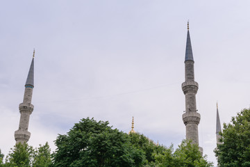 Beautiful mosque against the sky with clouds