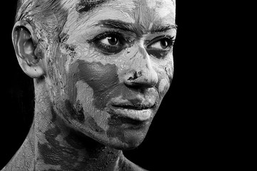 women painted with make-up and paints