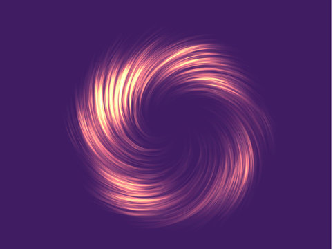 Neon abstraction, twisted in a spiral. Vector element, editable color. Modern neon abstract background