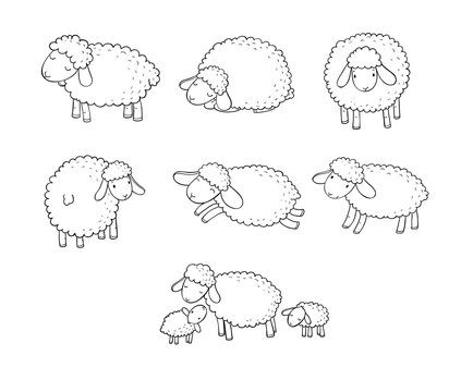 Cute cartoon sheep set. Farm animals. Funny lambs. good night sweet dreams